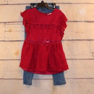 Girls 2 Piece Size 6 Jeggings and Top